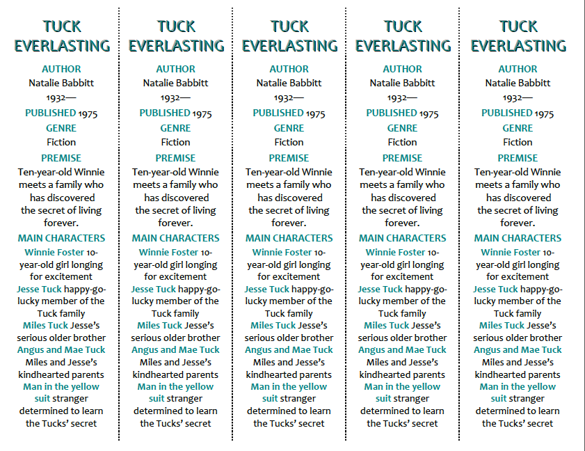 Innovation in the Classroom Tuck Everlasting – Tuck Everlasting Worksheets